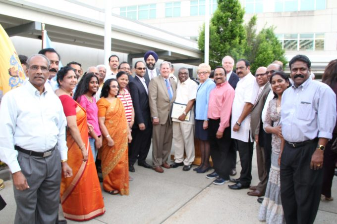 with community leaders and officials