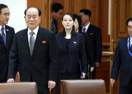Kim Yo Jong, center, sister of North Korean leader Kim Jong Un, and the country's nominal head of state Kim Yong Nam, second from left, arrive to meet South Korean President Moon Jae-in at the presidential house in Seoul, South Korea, Saturday, Feb. 10, 2018. President Moon on Saturday met with the senior North Korean officials over lunch at Seoul's presidential palace in the most significant diplomatic encounter between the rivals in years. Photo: AP