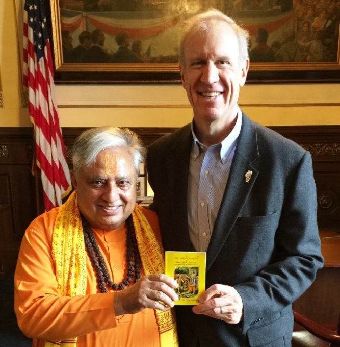 With Illinois Governor Bruce Rauner in Springfield, Illinois_ February 28, 2018