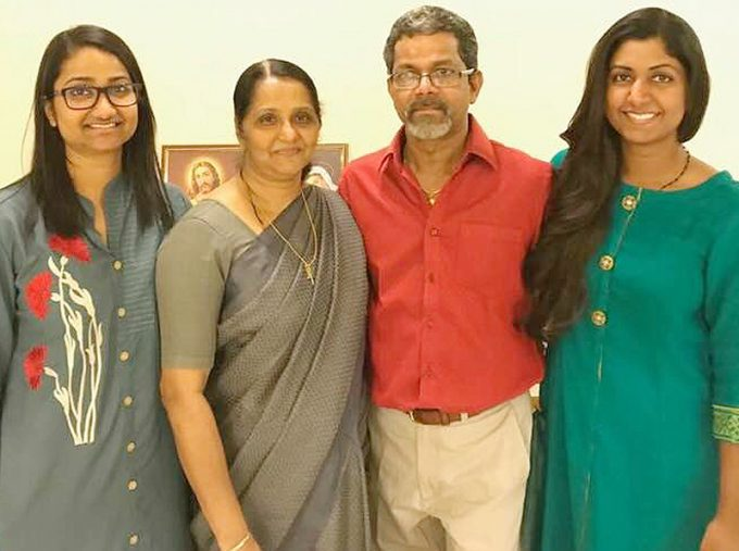 Job Netticattel with wife Beena and daughters Jothi and Sruthi
