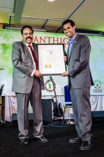Santhigram being honoured by State of New Jersey, USA