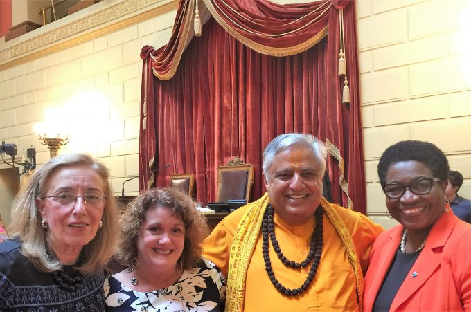 With some Representatives at Rhode Island House of Representatives in Providence before the invocation on June 20, 2018