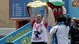 Joey Chestnut wins the annual Nathan's Hot Dog Eating Contest, setting a new world record by eating 74 hot dogs in Brooklyn, New York City, U.S., July 4, 2018. REUTERS/Stephen Yang