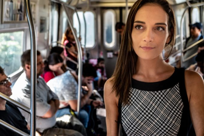 On a July Friday afternoon, State Senate candidate Julia Salazar on her way to a meeting on an East bound M train in Brooklyn, Salazar is running for the District 18 New York State Senate seat.