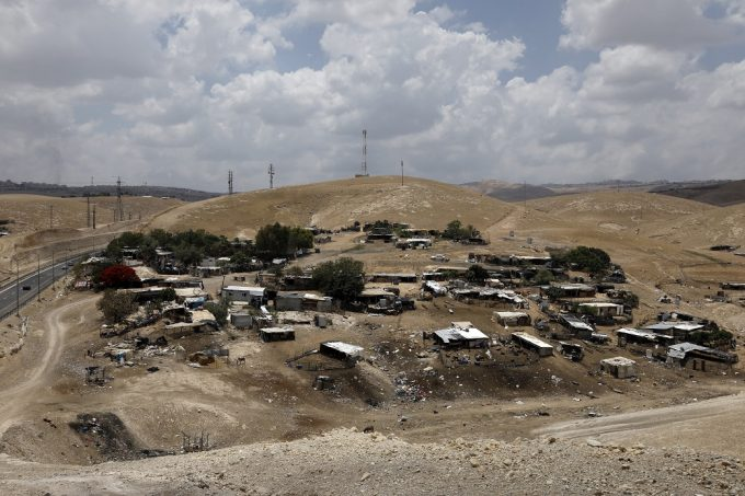 A general view taken on May 30, 2018 shows the Khan al-Ahmar Bedouin village, a village which is located between the West Bank city of Jericho and Jerusalem near the Israeli settlement of Maale Adumim and is under a demolition order. Israel's supreme court ruled on May 24, in favour of demolishing a Palestinian Bedouin village in the occupied West Bank, despite a campaign by European governments to save it. / AFP PHOTO / MENAHEM KAHANA