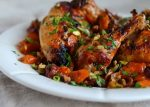 Roasted Chicken with Dates, Carrots, and Pistachios