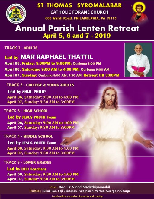 2019 Lenten Retreat schedule final