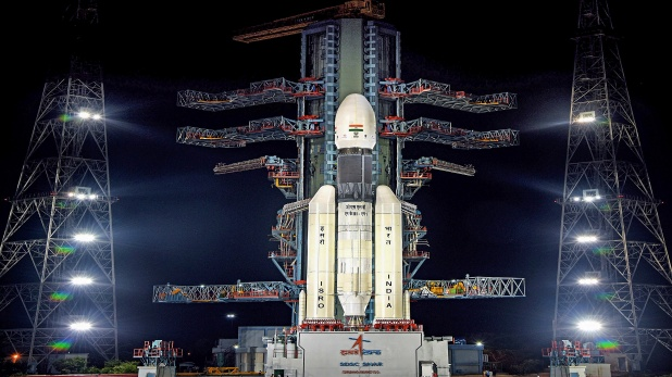 Nellore: A view of the Chandrayaan-2 on board GSLVMkIII-M1 at Satish Dhawan Space Centre in Nellore district, Saturday, July 13, 2019. Chandrayaan 2 suffered a jolt in the early hours of July 15 after a technical snag forced the Indian Space Research Organisation to call off the launch. (PTI Photo)(PTI7_15_2019_000042B)