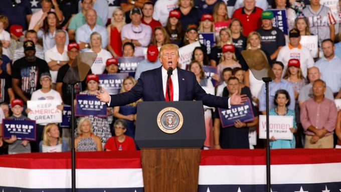 "U.S. President Donald Trump speaks about U.S. Representative Ilhan Omar, and the crowd responded with ""send her back"", at a ""Keep America Great"" campaign rally in Greenville, North Carolina, U.S., July 17, 2019. REUTERS/Jonathan Drake - RC1A0B4B0B60"