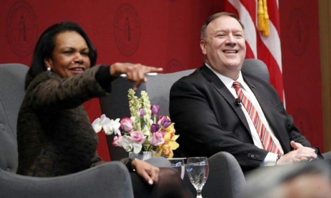 pompeo with condoleeza rice