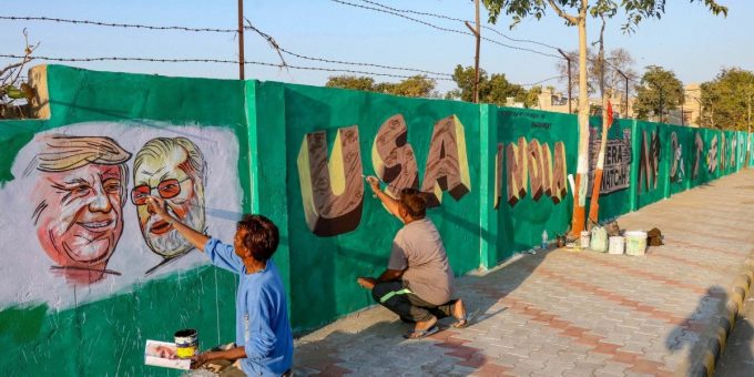 Murals-being-painted-on-a-new-wall-in-Ahmedabad-ahead-of-Namaste-Trump.-Photo-PTI