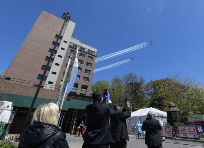 Thunder birds and blue angels performing in recognition of healthcare workers 2