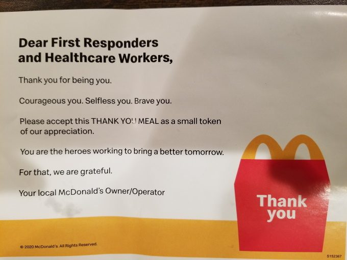 McDonalds thank you note