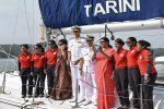 आईएनएस तारिणी गोवा हार्बर पहुंची , रक्षा मंत्री ने किया स्वागत
