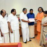 Mata Amritanandamayi Math Vice chairman Swami Amritaswarupananda Puri handed over ₹ 10 crore on behalf of Amma today