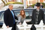 Trump visits Pittsburgh synagogue after shooting, protesters cry foul